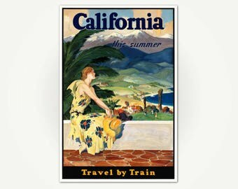 California This Summer - Vintage California Travel Poster Print - Rail Travel Poster Art