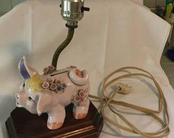 Vintage Ceramic Piggy Bank Lamp