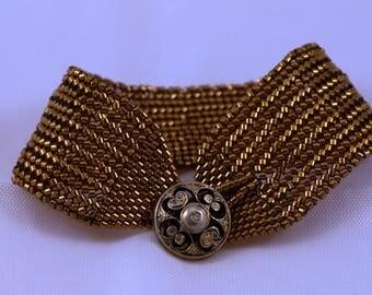 Bronze herringbone and peyote stitch cuff bracelet