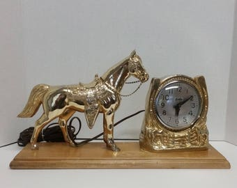 Mid-Century Western Theme Horse and Horseshoe Mantle Clock ,Home Decor,Western Decor,Timepiece,T.V. Lamp
