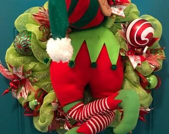 Elf Wreath, Christmas Wreath, Winter Wreath, Merry Christmas, Elf Butt Wreath