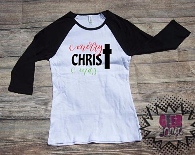 Chirstmas T-shirt Adult Raglan Baseball Tee  Vinyl Unisex Cotton red Christmas Xmas Holidays gift Celebrate Season
