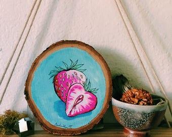 Sweet Strawberries Original Art On Wood Round