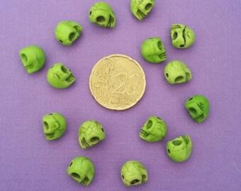 Set of 15 skull beads, skull Green