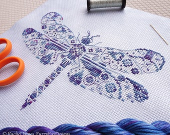 Variegated Dragonfly Cross Stitch Pattern PDF | Coloris ThreadworX Hand-Dyed Floss