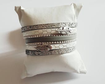 White and grey feathers leather Cuff Bracelet
