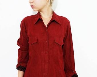 ON SALE Vintage Velvet Velour Peachskin Burgundy Shirt