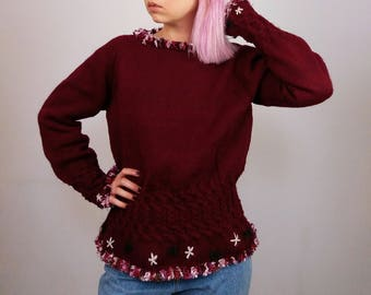 Vintage Heavy Wool Hand Knitted Jumper  Flower Embroidery   Winter Sweater Pullover in Burgundy