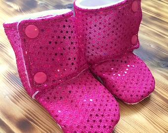 Sequin Booties - Stay On Booties -Pink Glitter Slippers - Baby Fall Boots - Bling Booties - Baby Booties - Girl Boots - Baby Shower Gift