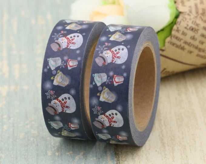 Washi Tape - Christmas Washi Tape - Blue Snowman washi Tape - Paper Tape - Planner Washi Tape - Washi - Decorative Tape - Floral Washi Tape