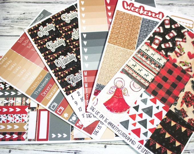 Black Friday Exclusive Planner Stickers - Fits Happy Planner Classic - Lumberjack Christmas Stickers - Fits EC - Lumberjack Christmas