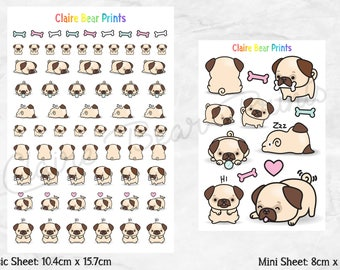 PUG Planner Stickers - Classic & mini sheets (2 options)