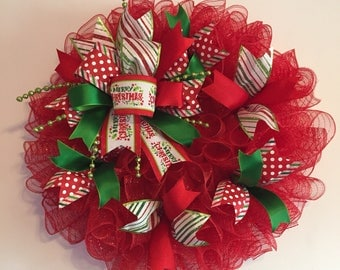 """22"""" Christmas Deco Mesh Wreath with Bow - Red"""