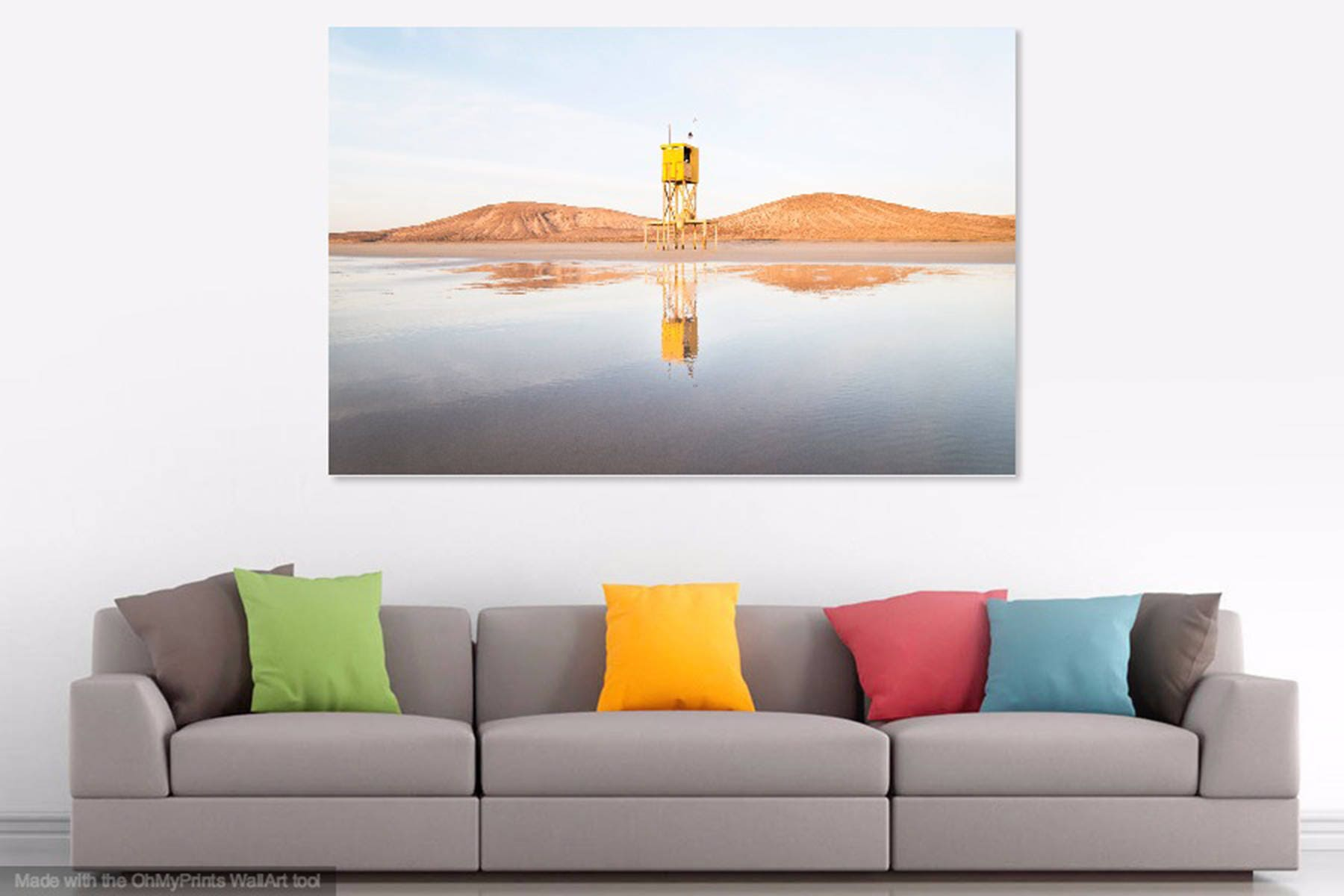 The Yellow Tower Beach Print Fuerteventura Coastal Picture  # Muebles Laver Fuerteventura