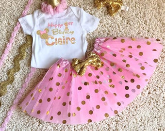 I'm The Birthday Girl Pink and Gold Minnie Mouse Birthday Mom Girl Shirt Tutu Boutique Hat Personalized Matching Pink Gold Disney Birthday