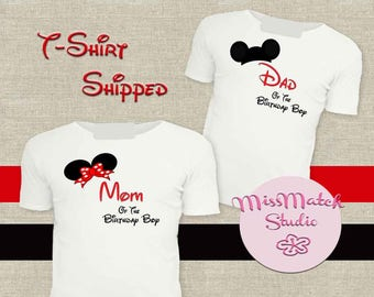 SALE Mom Dad Family Disney T-Shirt Shipped!! Minnie Mickey Mouse Mom Birthday Girl Shirt DIY Iron On Digital Art Matching Red Black White