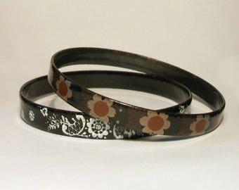 Austrian Enamel Bangles Pair 1960s Vintage Floral Black White Michaela Frey Style Bracelet