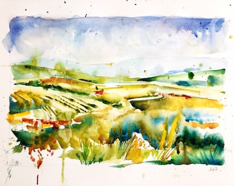 "Original watercolor - Delivery free ""countryside"" (countryscape, countryside nature yellow green painting fields Serbia watercolor)"