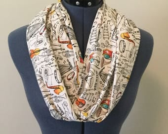 Musical Instruments Infinity Scarf / Music / Infinity Scarf / Piano Keys / Scarf / Composer / Music Teacher / Gift / Cello / Tambourine