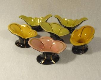Six Vintage Art Deco Candle Holders or single Bud vases