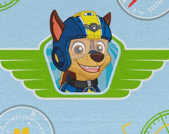 "Paw patrol wings on blue for Davids Textiles, 43-44"" wide, 100% cotton, charcter fabric, cartoon fabric, licensed fabric"