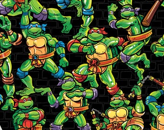 "1/2 yard, Turtle Toss on black by Spirings Creative fabric, 43"" wide, 100% cotton, by the half yard, TMNT fabric, turtle fabric, cartoon fab"