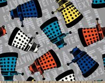 "Doctor Who Dalek Toss by Springs Creative fabric, 43"" wide, 100% cotton, by the half yard, character fabric, dr who fabric, TV fabric,"