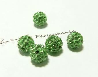 10 pearls 10mm Green quality shambala
