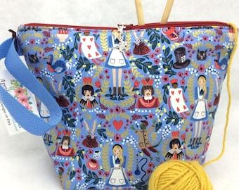 Alice Knitting Project Bag, Crochet Bag, Alice in Wonderland Tote, Sock Bag, Craft Bag