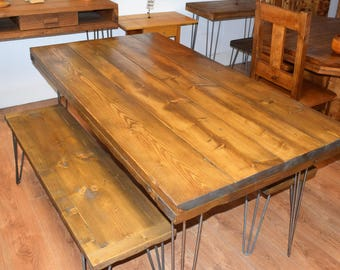 Reclaimed Wooden Table with x2 Benches