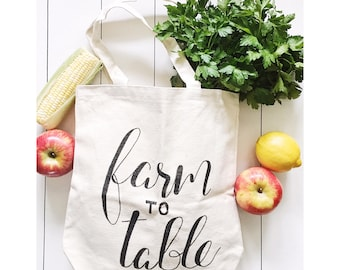 Farm to table Tote, Farmers Market, Farmhouse Decor