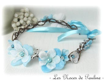 Turquoise and white Fiona fascinator ceremony wedding wreath