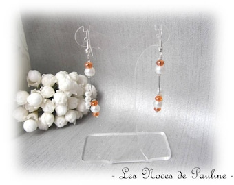 Orange white earrings asymmetric Eva wedding ceremony
