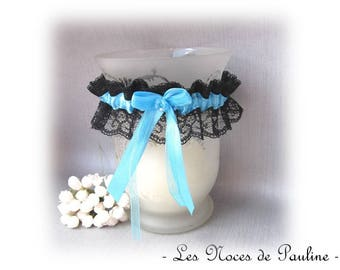 Black and turquoise wedding garter lace 1