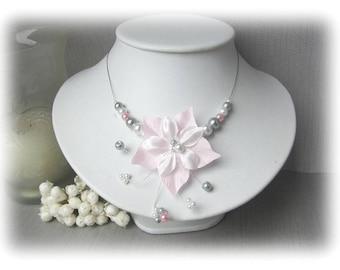 Pink, grey and white satin bridal Aude