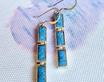 Turquoise Earrings, Silver Turquoise Earrings, Sterling Silver Earrings, Turquoise Jewelry, Vintage Jewelry, December Birthstone Earrings
