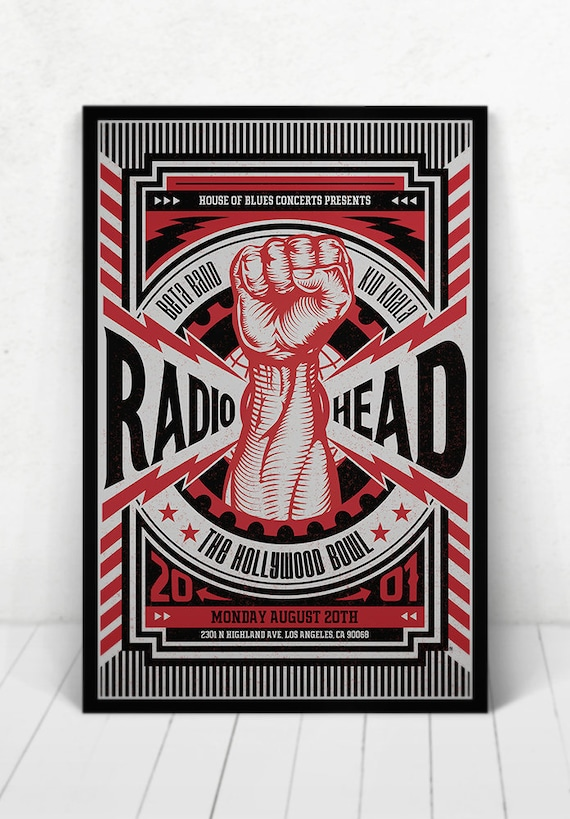 Radiohead Concert Poster - Illustration [Radiohead  / The Hollywood Bowl Los Angeles, CA - Aug 20, 2001 / Featuring Beta Band and Kid Koala]