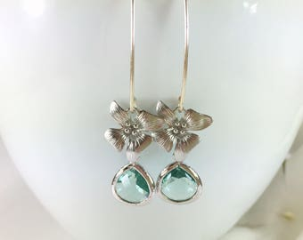 Aquamarine Earrings Glass Drop Silver Flower Earrings Long Dangle Floral Jewelry Aqua Wedding Jewelry Bridesmaid Earrings Botanical Minimal