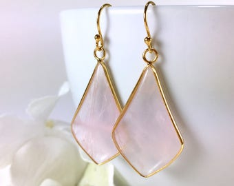 Rose Quartz Earrings Dangle Drop Gemstone Chandelier Earrings Rose Quartz Jewelry Everyday Earrings Quartz Gemstone Pendant Earrings Gift