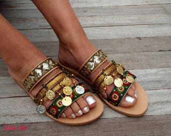 Pine Green and khaki Sandals, Leather sandals, Greek Sandals, bohemian shoes,  sandals, Women's Shoes,  leather shoes, boho sandals