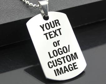 Custom Laser Engraved Stainless Steel Dog Tag Military Pendant Personalized Style Jewellery Cosplay Rock Musicians