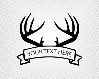 Antlers Banner, Hunting Banner, Cutout, Vector art, Cricut, Silhouette Cameo, die cut, instant download, Digital Cut, Print Files, Svg Files