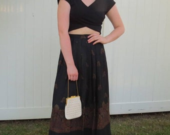 1970s black maxi skirt/ 1970s pleated skirt/ vintage skirt