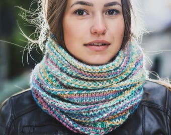 Striped knitted cowl Blue cowl Pink infinity scarf Yellow neck warmer Christmas gift Green cowl Wool neck warmer Alpaca scarf Gift for her