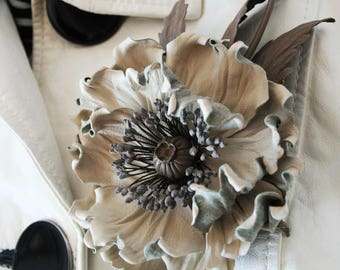 Beige Leather brooch , poppy corsage flower, leather gift for her, flower brooch,leather jewelry, 3 year anniversary for her, leather poppy