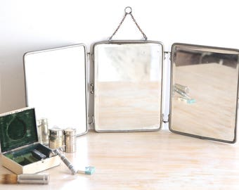 Antique French Triptych Barberu0027s Mirror, Triptych Mirror, Barber Mirror,  Folding Travel Mirror,