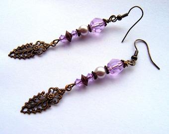 Art Nouveau Style Earrings/Ladies Earrings/Boho Earrings/Pearl Earrings/Swarovski Earrings/Gift For Her/Statement Earrings