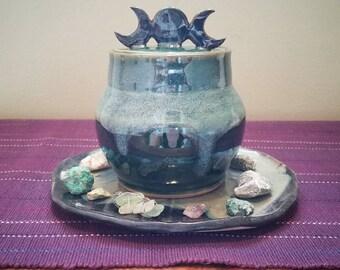 Triple Moon Goddess Jar ~ Earth Tones, Green, Nature ~ Pagan