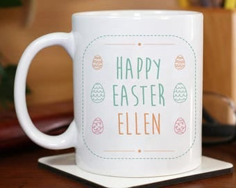 Happy Easter Mug Beautiful Personalized With Name Printed On it