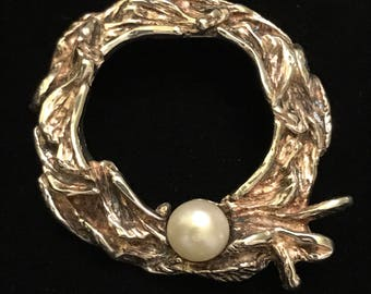 """A.Holthe 1960's Sterling Brutalist Design with Cultured Pearl 1.30"""""""